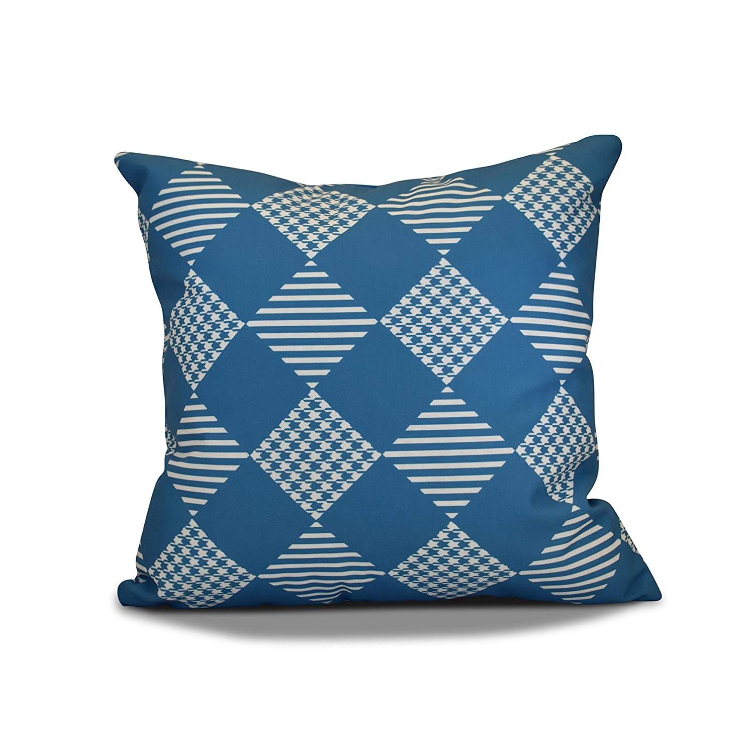 E by design PHGN708BL34-20 20 x 20-inch, Check It Twice Pillow, Teal 20x20 Blue