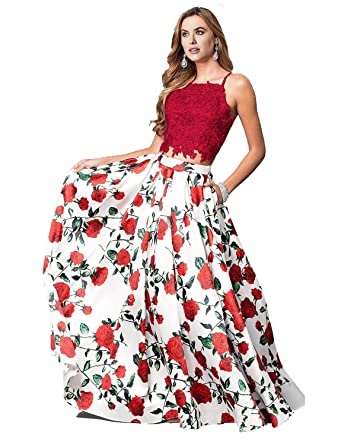 96f80a4c999 Momabridal Womens Long Two Piece Floral Lace Satin Prom Dresses Strapy  Homecoming Party Gowns with Pockets