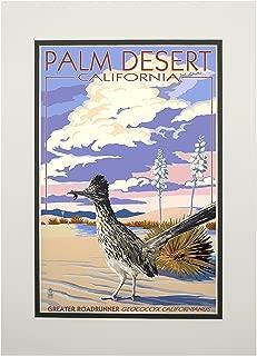 product image for Palm Desert, California - Roadrunner Scene (11x14 Double-Matted Art Print, Wall Decor Ready to Frame)