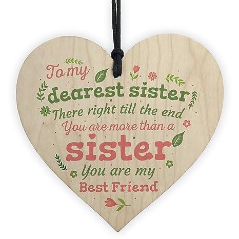 Amazon XLD Store Sister Birthday Gift Friendship Wooden Heart