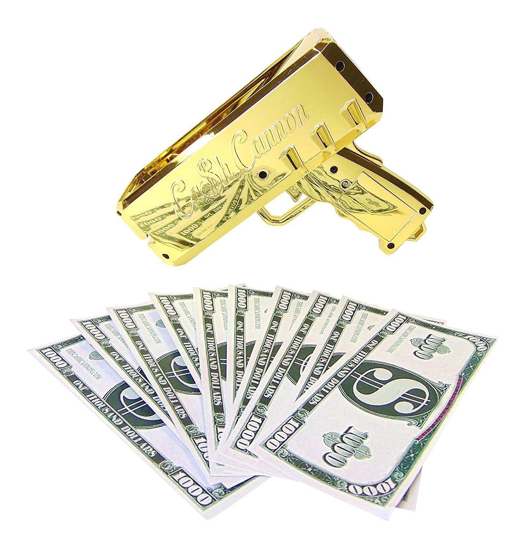 The Cash Cannon Make It Rain Money Dispenser - Chrome Gold- Novelty Item