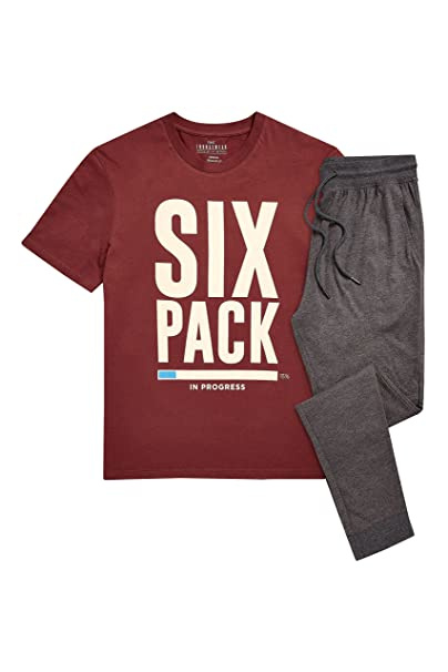 next Hombre Pijama De Punto Con Texto «Six Pack In Progress» Borgoña XXLGE/