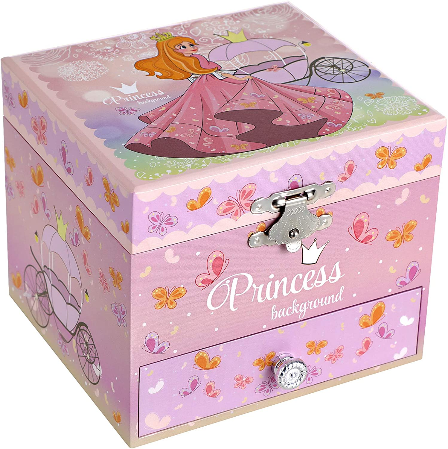 SONGMICS Kid's Musical Jewelry Box with Ballerina, Elegant Princess and Butterfly Design, Somewhere Over the Rainbow Melody, Pink UJMC011PK