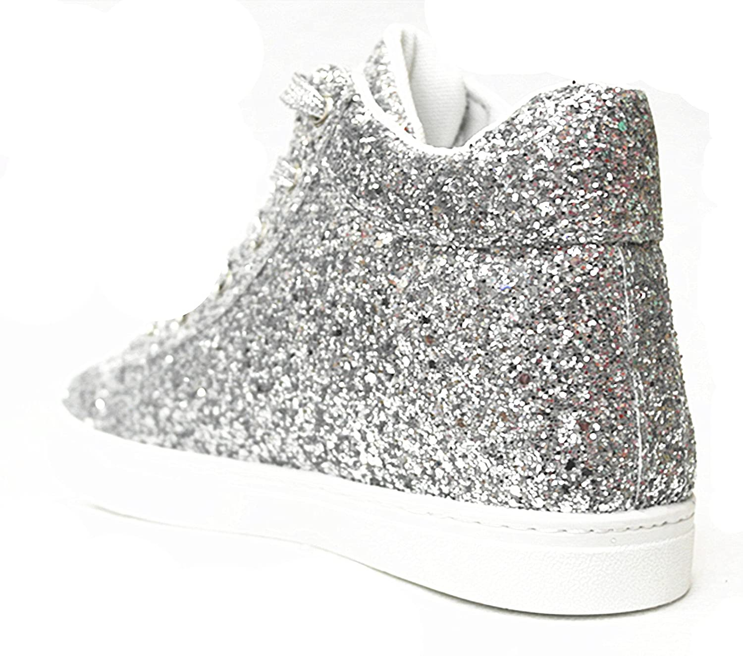 SF Forever Link Remy-18 Women Jogger Sneaker-Lightweight Glitter Quilted Lace up Shoes