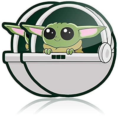 Baby Yoda Car Decal 2 Pack Baby Yoda Sticker or Baby Yoda on Board Laminated Vinyl Car Decal or Laptop Sticker Baby Yoda Stickers or Mandalorian Car Sticker: Arts, Crafts & Sewing