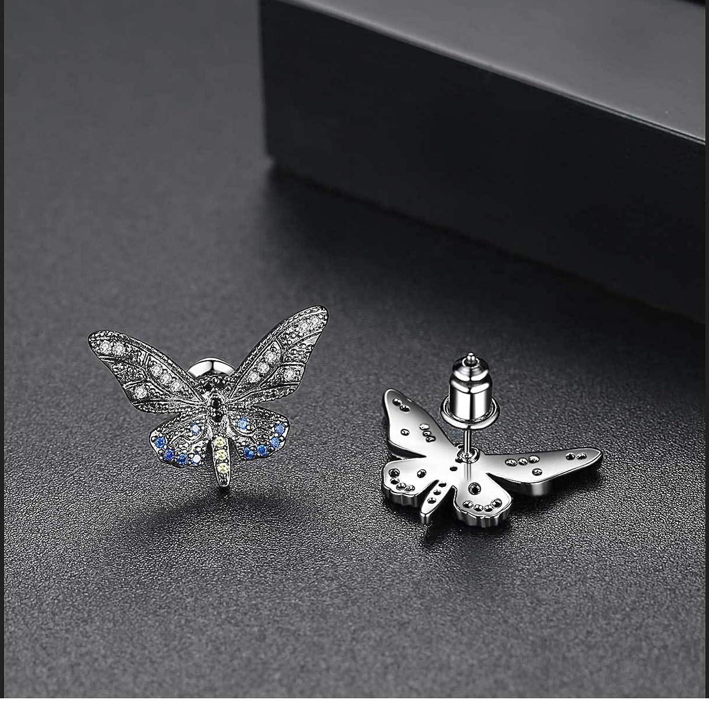 YIGEZHONGZI Fashion Crystal Butterfly Stud Earrings For Lady Women Girls With Gift Box