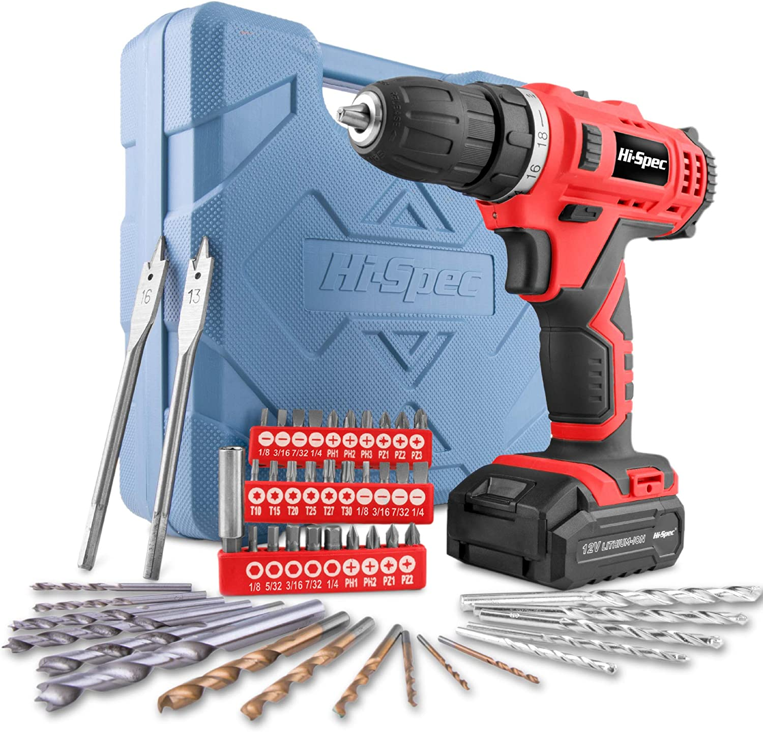 Hi-Spec 12V 1300mAh Li-ion Cordless Drill Driver, Twin Gear Speed with 20Nm Torque. Variable Speed Switch & LED Light With 49 Piece Drill & Screwdriver Bit Accessory Set in a Carry Case (Red)