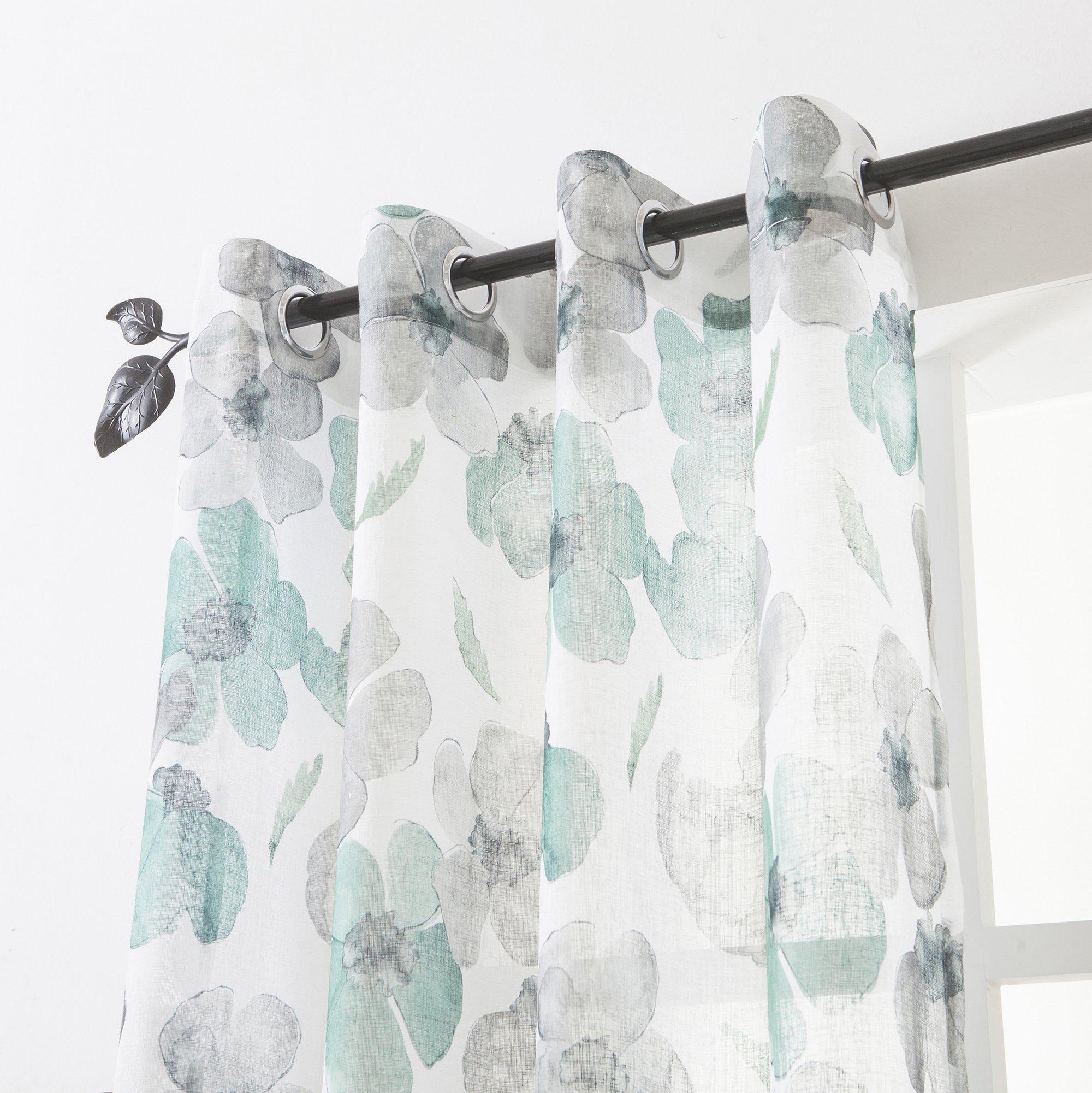 Floral Print Curtain Panel, Faux Linen Grommet Top Window