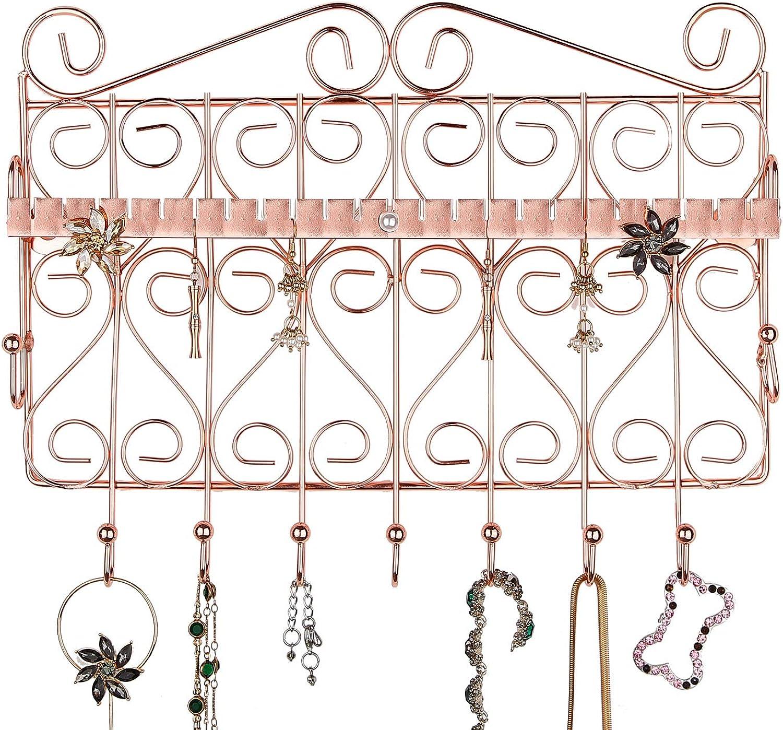 Ros/égold-Schmuckst/änder mit Keramikschale 4 Etagen Metallhalter Halskette Ohrringe Armband /& Ring Organizer H/ängend  Aufbewahrungshalter  M/&W