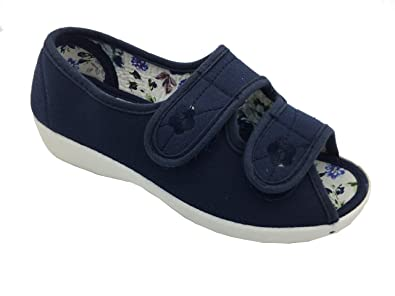 1922dcc271fae Dr Keller Rose Wide Fit Twin Touch Fastening Open Toe Summer Canvas Shoes:  Amazon.co.uk: Shoes & Bags