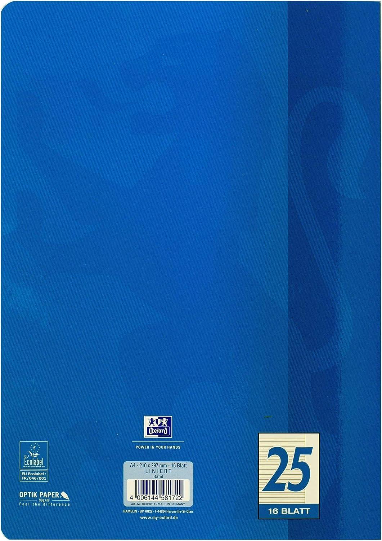OXFORD 100050315 Schulheft Schule 15er Pack A4 16 Blatt Lineatur 29 rautiert mit Doppelrand gr/ün