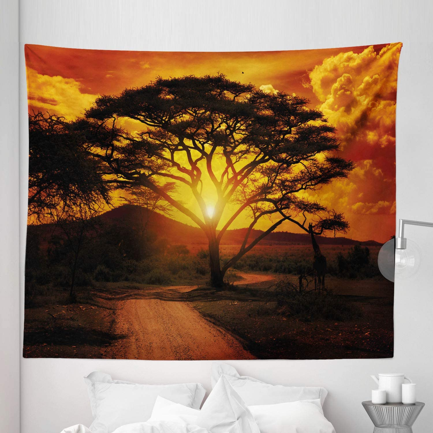 """Lunarable Sunset Tapestry King Size, Majestic Tree with Horizon Background Mystic Nature Dramatic Landscape, Wall Hanging Bedspread Bed Cover Wall Decor, 104"""" X 88"""", Orange Black"""