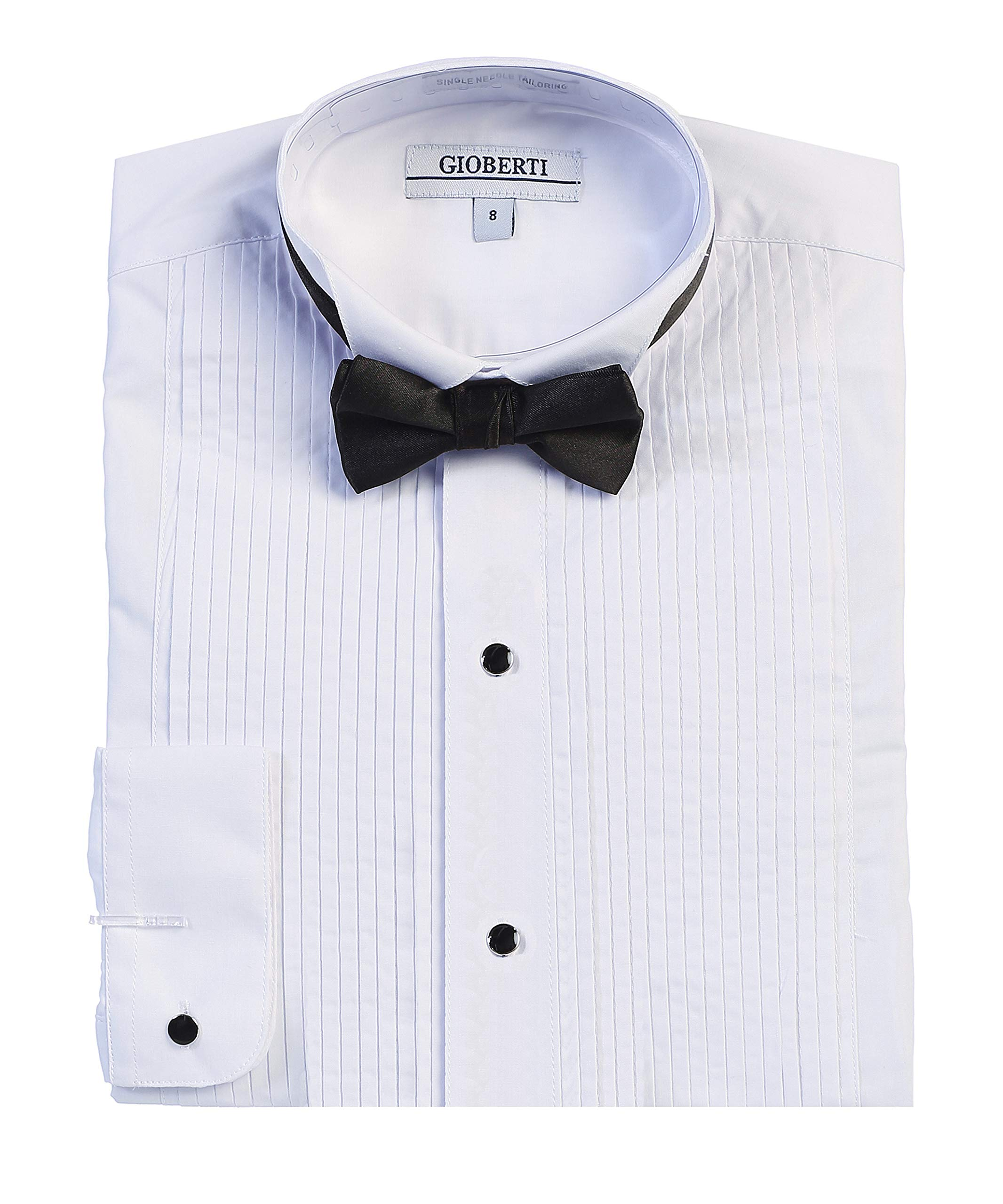 Gioberti Boy's Wing Tip Collar White Tuxedo Dress Shirt with Bow Tie and Metal Studs, White, Size 10