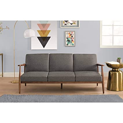 Amazon.com: Mid-Century Modern Design Futon, Linen Upholstery with ...