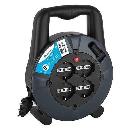 Electraline 49026 - Carrete De Cable, 4 Tomas Universal, La Longitud Del Cable De 10 M, Sección 3X1,5 Cable Mm, Gris/Azul: Amazon.es: Bricolaje y ...