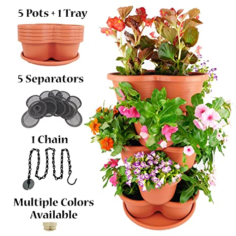 Amazing Creation Stackable Planter Vertical Garden For Growing  Strawberries, Herbs, Flowers, Vegetables And