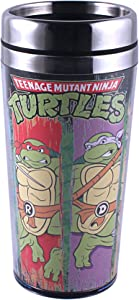 Silver Buffalo NT2687ST Nickelodeon Teenage Mutant Ninja Turtles Character Swipe Stainless Steel Travel Mug, 16-Ounces