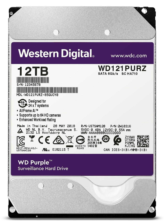 3.5 WD30PURZ WD Purple 3TB Surveillance Hard Drive 5400 RPM Class SATA 6 Gb//s 64 MB Cache