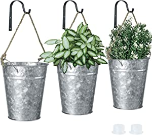 JIAYUAN 3 Pcs Hanging Planters Indoor Outdoor Wall Decor Planter Farmhouse Galvanized Metal with Hole Flower Vase Succulent Herbs Holder Small