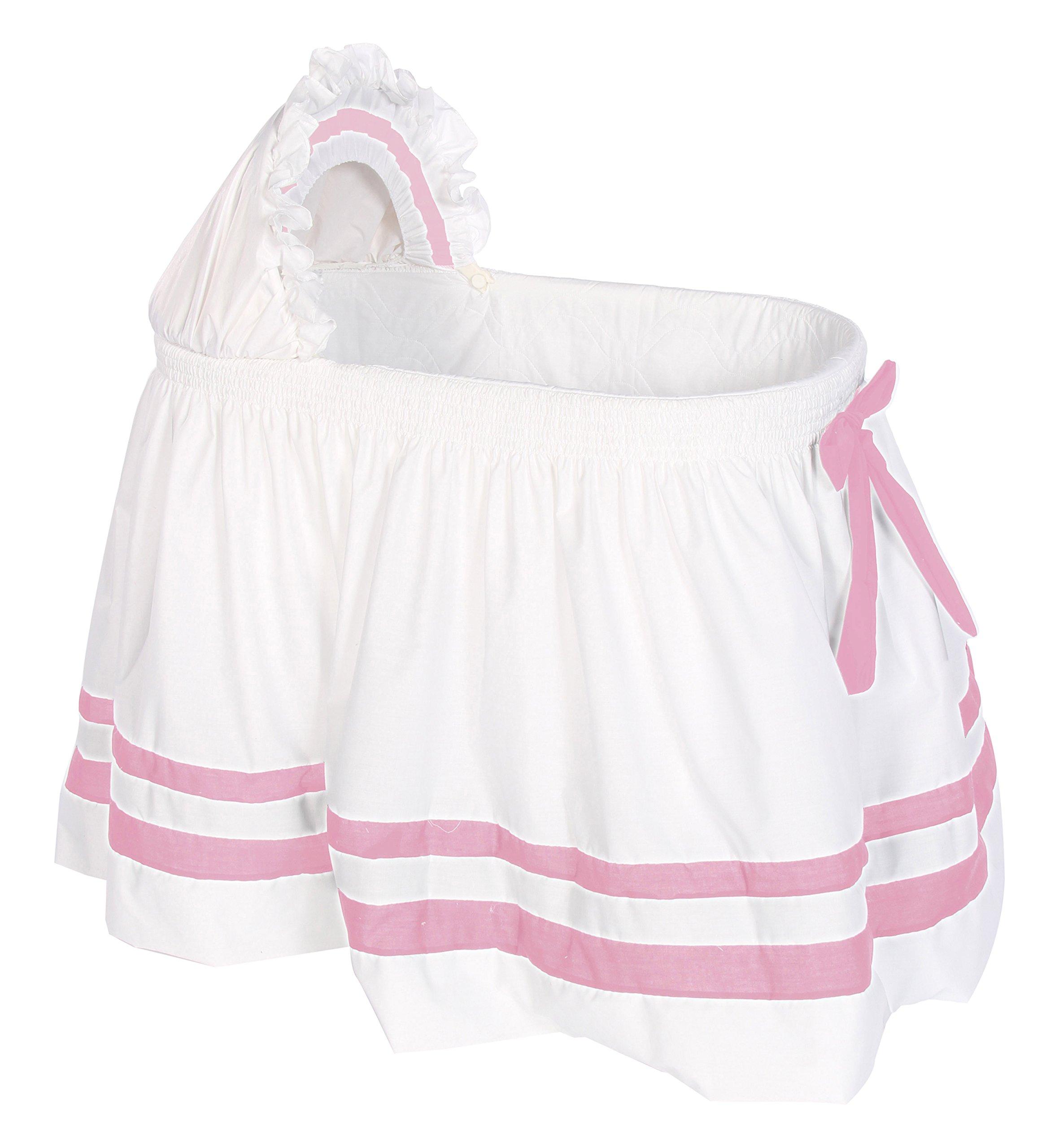 Baby Doll Bedding Modern Hotel Style II Bassinet Skirt, Pink by BabyDoll Bedding