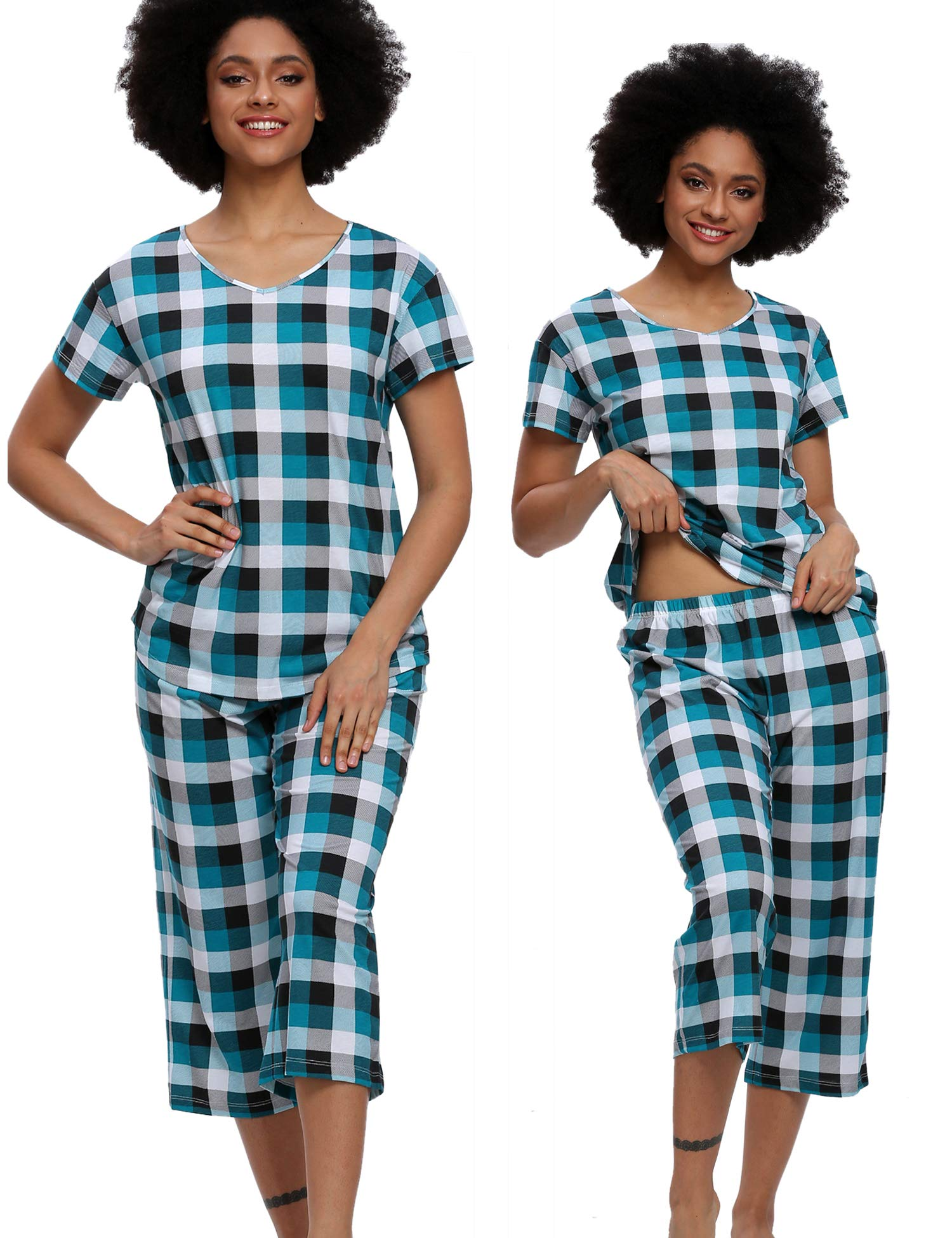 ENJOYNIGHT Pajamas Set Women's Cute Tops with Capri Pants Sleepwear Sets Plus Pj Lounge Nightgowns (Lattice G, XXX-Large)