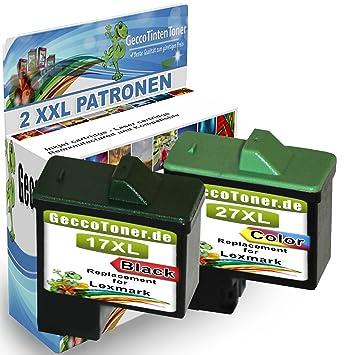 Premium Conjunto de 2 Cartuchos de Tinta Compatible con Lexmark 17xl + 27xl Para Lexmark X2230 X2250 X1180 X1185 X1190 X1250 X1270 X1290 X1196 Z614 ...
