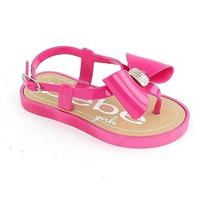 69ebb1164ee7 Bebe Girls Little Girls  Rhinstone Bow Sandal (9 10