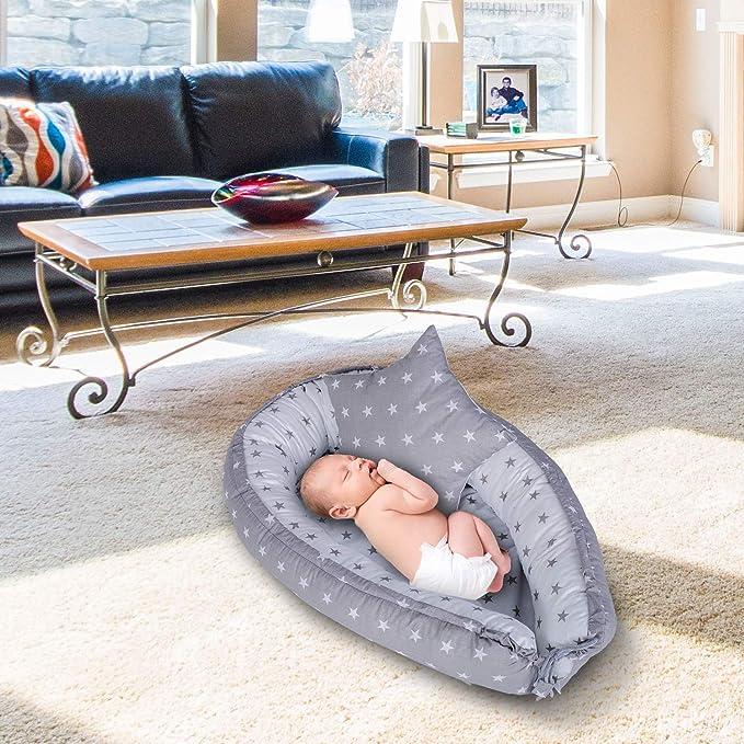 nido bebe recien nacido - reductor de cuna nidos para bebes cojin colecho Gris blanco 90 x 60 cm