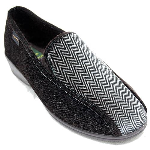 a245d733d1f Doctor Cutillas 769 - Zapatillas Cerradas Anchas Tipo Mocasín Marrón Oscuro  y Textura Marrón Claro  Amazon.es  Zapatos y complementos