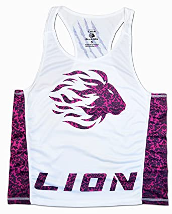 4318a4353f781 LION PREMIUM TANK TOP FOR WOMAN IN WHITE PINK (M) at Amazon Women s ...