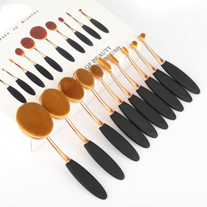 Vander profesional de 10 Pcs Soft Oval cepillo de dientes de los de cepillo del maquillaje Cepillos Fundación Crema Contorno Powder Blush Pincel ...