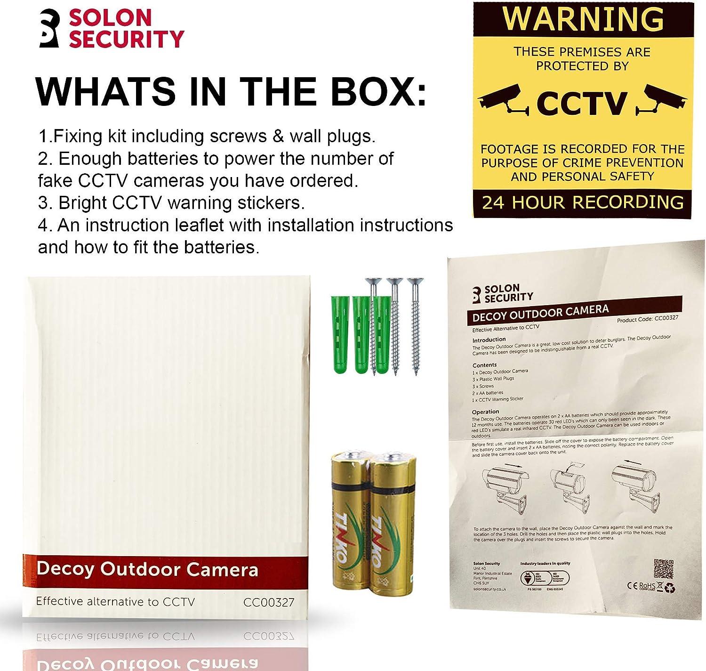 C/ámara de seguridad falsa para exteriores con luces LED Plateado 2 unidades c/ámara falsa de CCTV se/ñales de CCTV gratuitas para exteriores