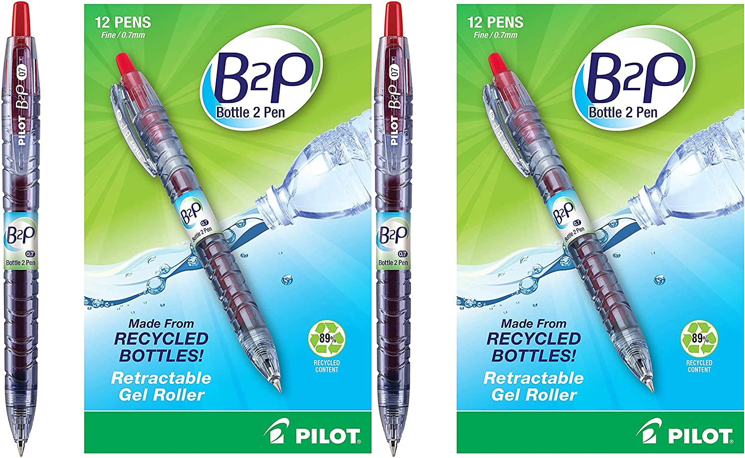 Fine Point 31602 2 Pack Bottle to Pen Refillable /& Retractable Rolling Ball Gel Pen Made From Recycled Bottles Red G2 Ink PILOT B2P 12 Count