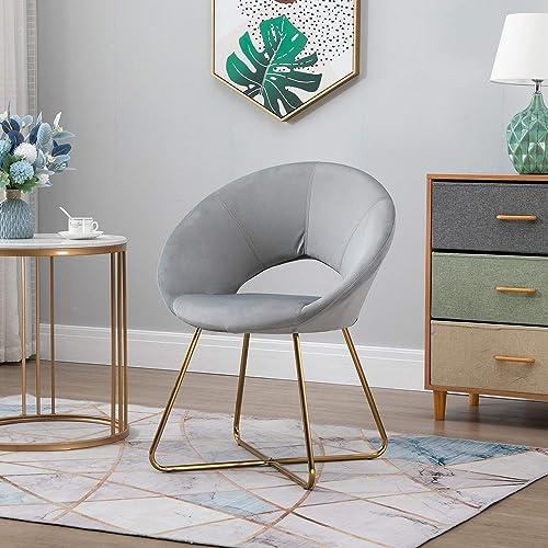 HOMCOM Modern Accent Velvet Chair Open Curved Mid-Back Upholstered Chair
