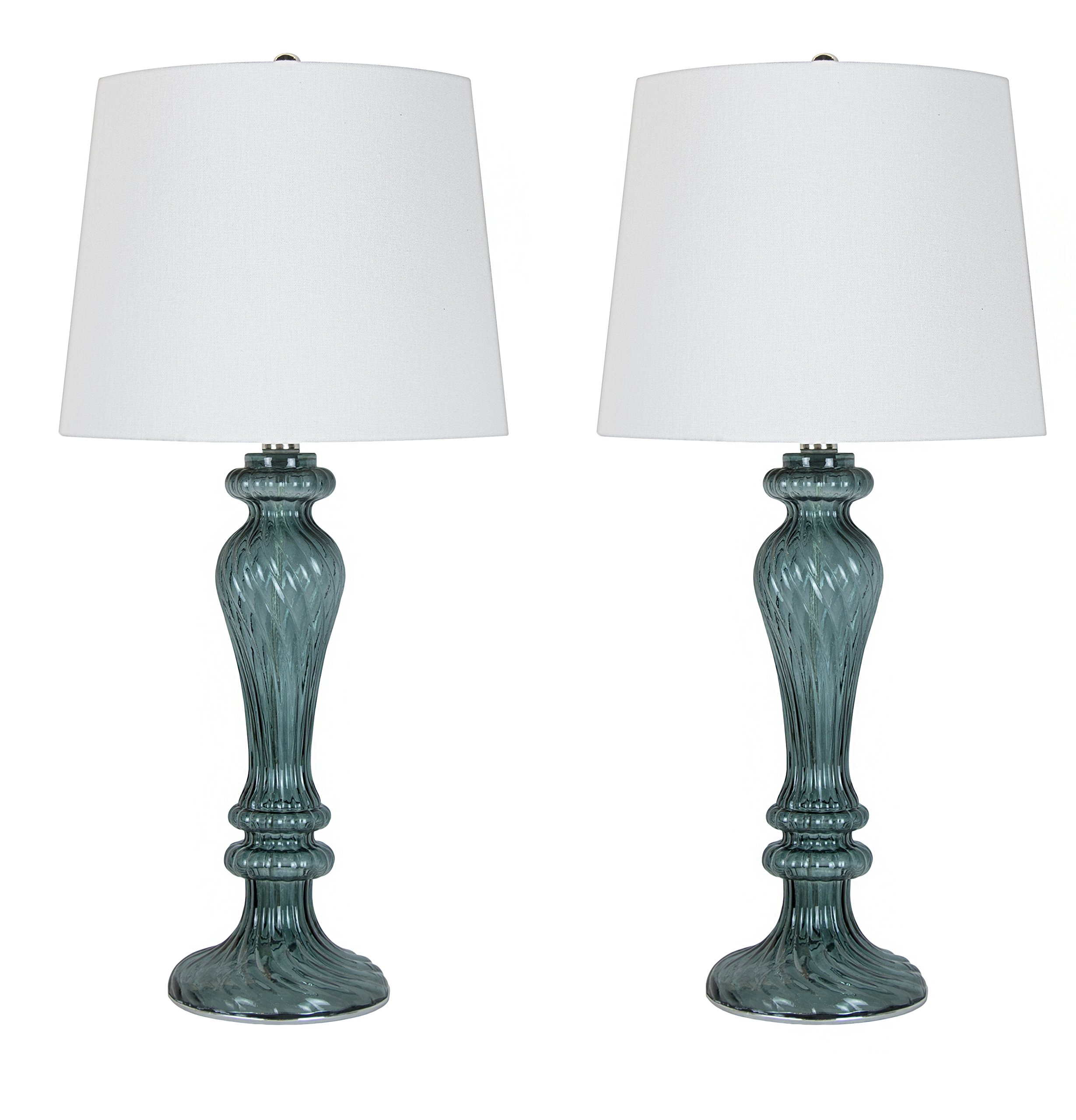 Grandview Gallery GT90496K-(W)-(DP) 25.5'' Glass Table Lamps (Set of 2), 50 Piece by Grandview Gallery