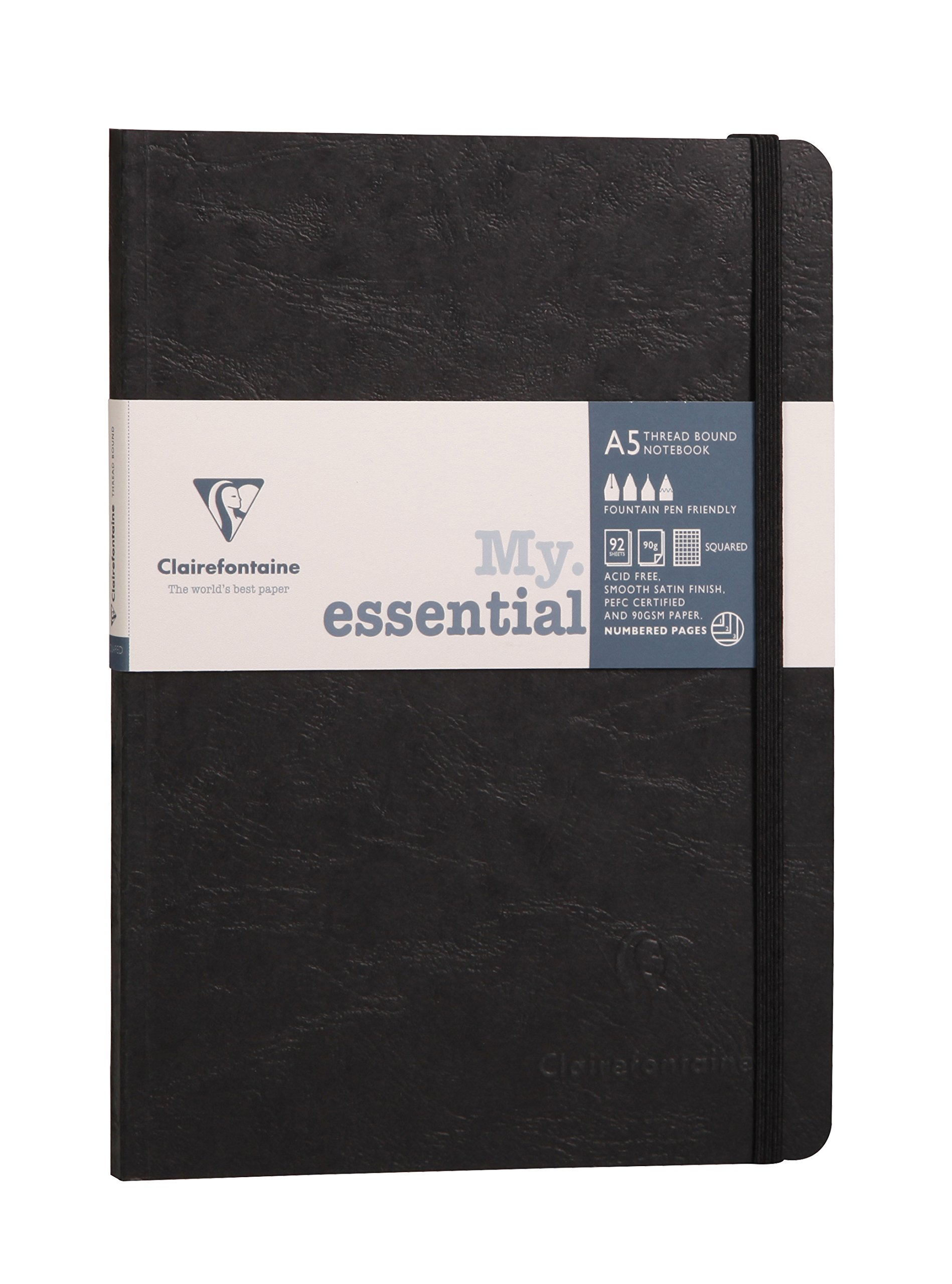 Clairefontaine A5 Age Bag Essentials Thread, Bound Notebook, 5/5 Square Ruling, 192 Pages, Black
