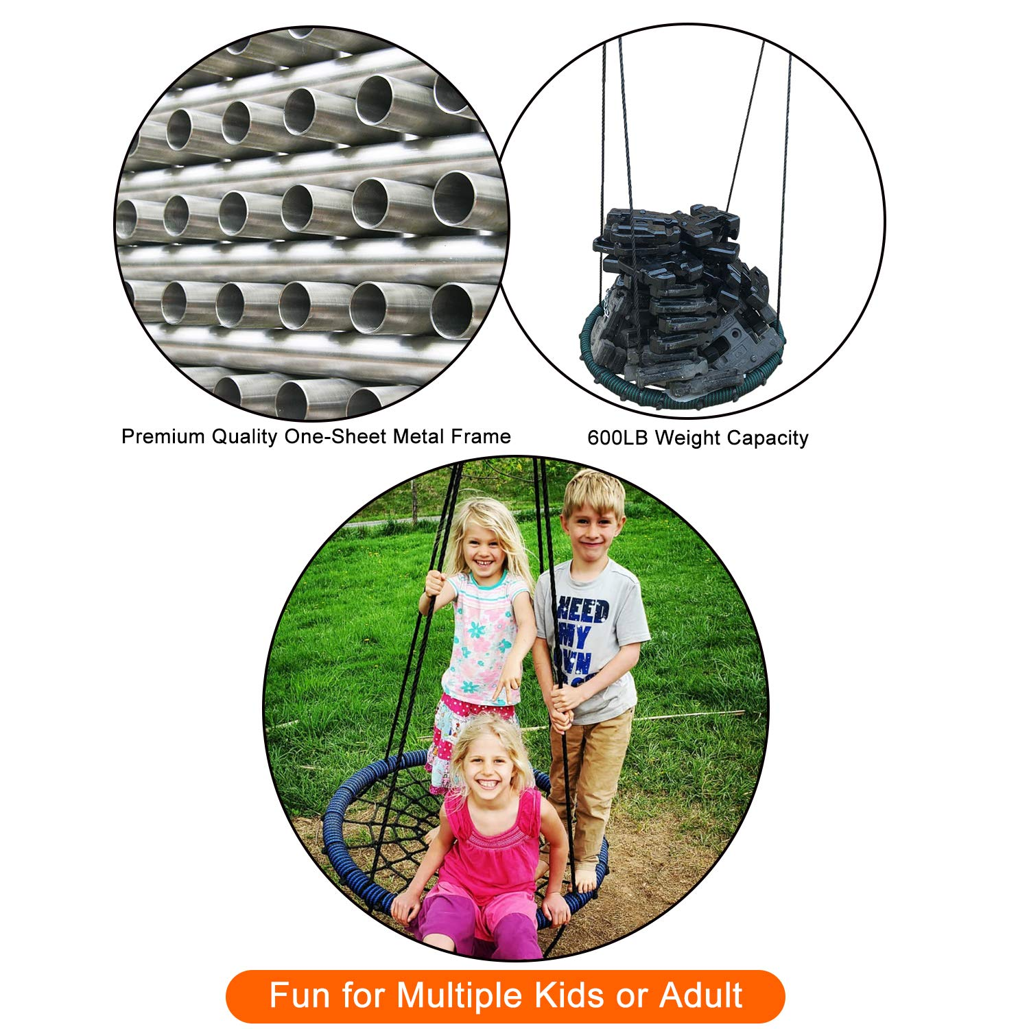 Green Big Elephant Play Spider Web Tree Swing Outdoor Round Net 31 inch Diameter Rope Swing 71 inch Rope Max 600 Lbs Attaches to Trees Swing Sets Fun for Multiple Kids or Adult Safe and Durable