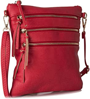4468e7beaf Lightweight Leather Multi Zip pocket Messenger Cross Body Travel Shoulder  Bag - Mini Small
