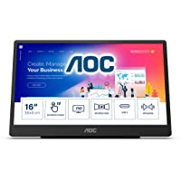 """AOC 16T2 15.6"""" Full HD (1920 x 1080) Touch-Enabled Portable IPS Monitor, USB-C and Micro HDMI inputs, Built-in Battery…"""