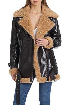 4b8ded555b42 Avec Les Filles Women s Oversized Asymmetrical Zip Faux Leather Biker Jacket