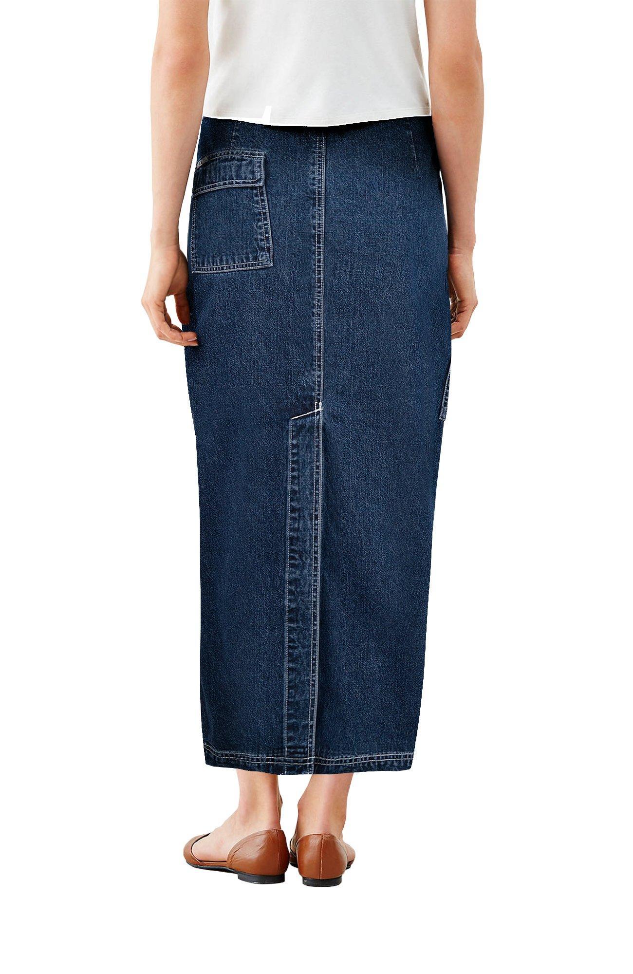 Womens Super Comfy Long Denim Maxi Skirt SK152708 Dark Wash 9 by HyBrid & Company (Image #2)
