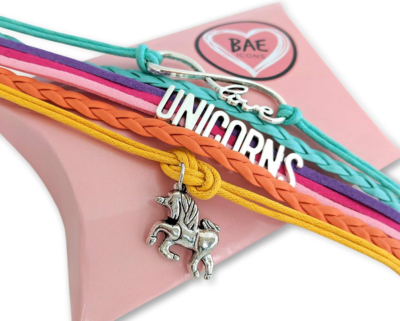 Amazon.com : BAE Icons Infinity Unicorns Bracelet Gift for Girls ...