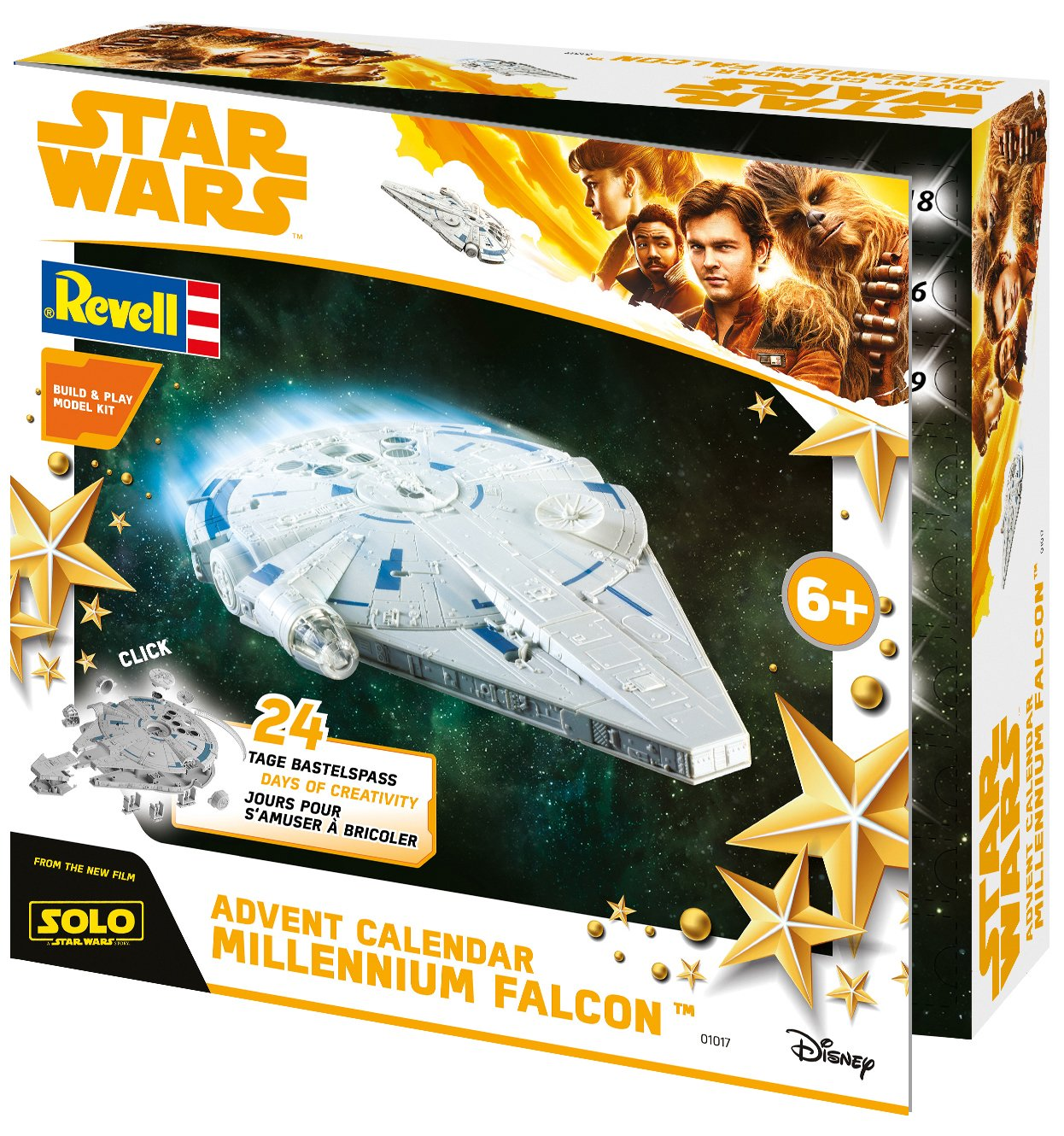 Revell Build& Play 01017 - Adventskalender Millennium Falcon, Star Wars, Disney SOLO - 24 Tage cooler Bastelspaß, der Bausatz mit dem Stecksystem für Kinder ab 6 Jahre, bauen und spielen Revell_01017