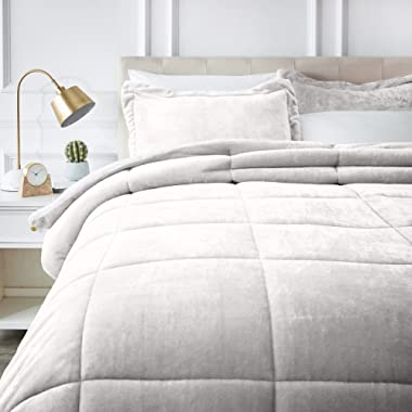 AmazonBasics Micromink Sherpa Comforter Set - Ultra-Soft, Fray-Resistant -  King, Cream