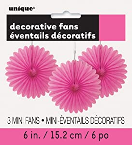 Unique Industries, Mini Tissue Paper Fan Decorations, 6 Inches, Party Supplies - Hot Pink, Pack of 3