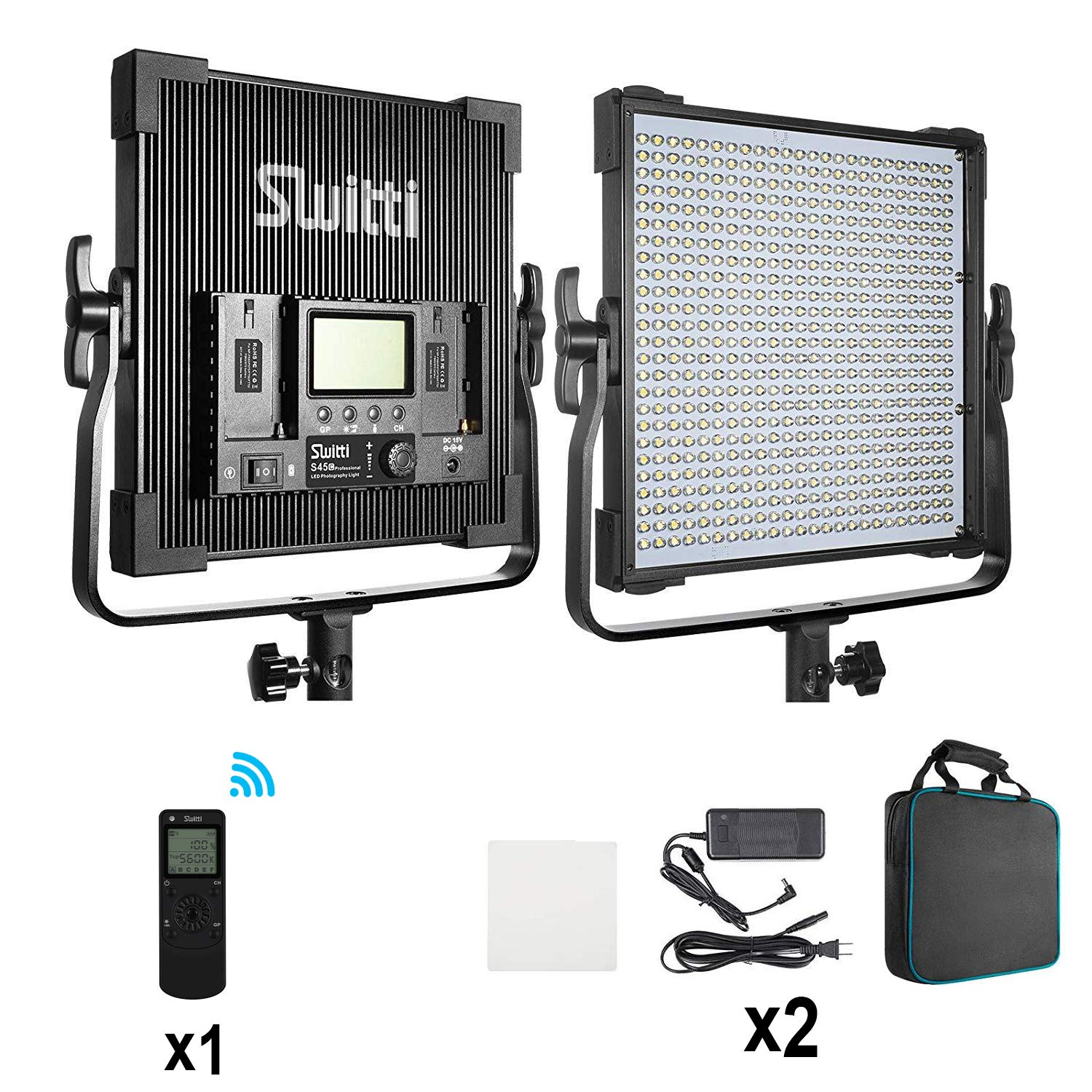Bi-Color LED Video Light 45W, Switti Studio Lights with Digital Display CRI96+, LED Photography Video Lighting Kit 3000K-8000K for Studio YouTube Product Photography Video Shoot(2 Packs, RC Included)