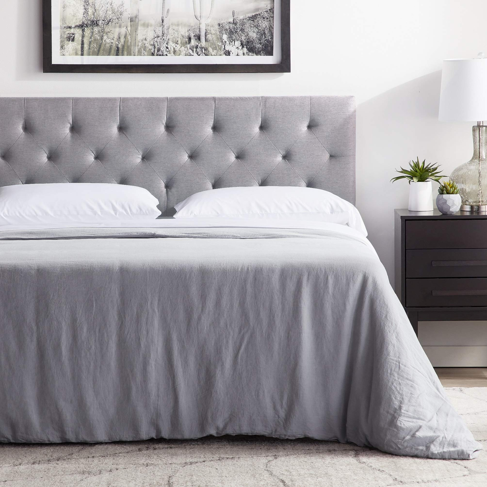 LUCID Mid-Rise Upholstered Headboard - Adjustable Height from 34'' to 46'' Full - Stone by LUCID