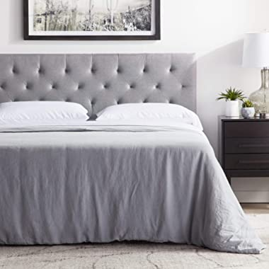 "LUCID Mid-Rise Upholstered Headboard - Adjustable Height from 34"" to 46"" Queen - Stone"