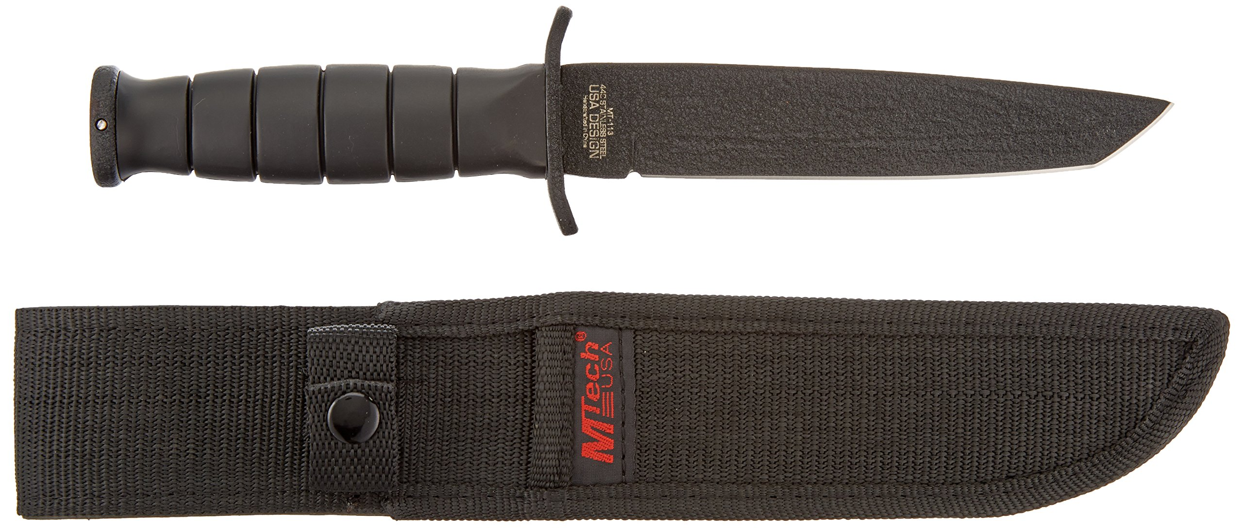 MTech USA MT-113 Rescue Team Fixed Blade Survival Knife, Black Straight Edge Tanto Blade, Black Handle, 10-1/2-Inch Overall
