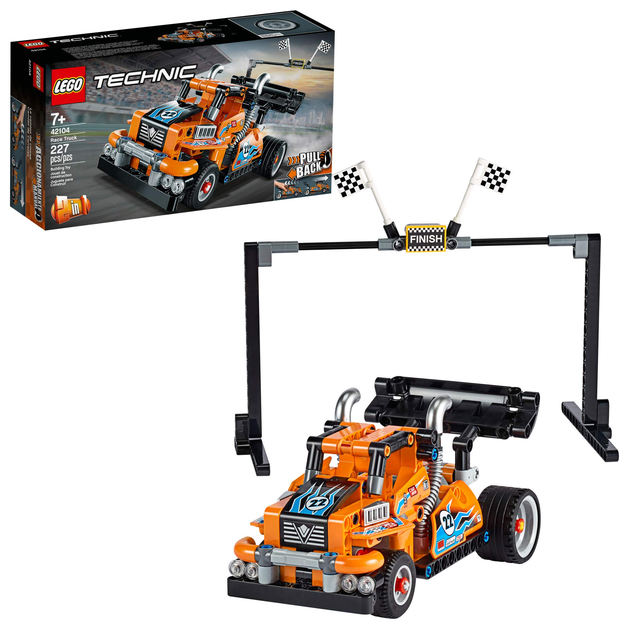 LEGO Technic Race Truck 42104 Pull-Back Model Truck Building Kit New 2020 (227 Pieces)